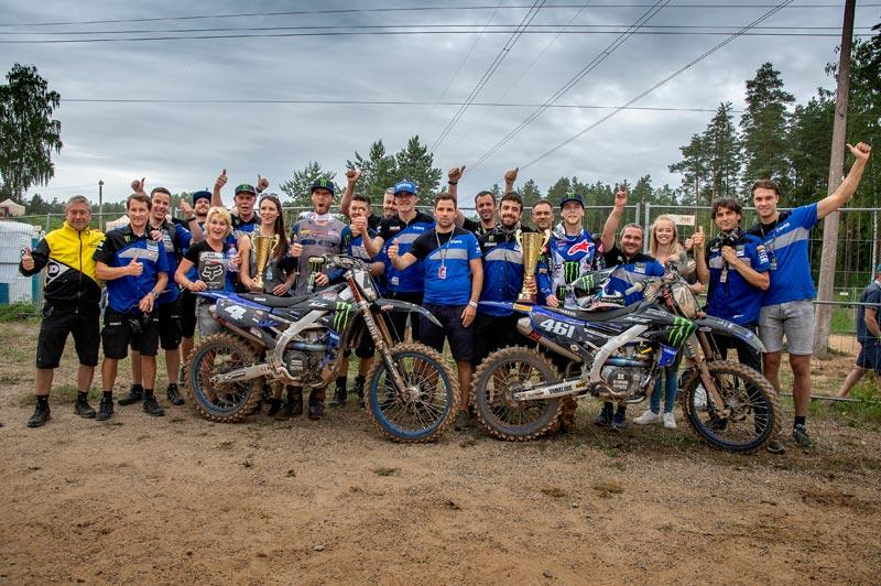 Monster Energy Yamaha Factory MXGPのフェーブルとMonster Energy Wilvo Yamaha MXGPのトヌスが優勝者と同点の2位、3位